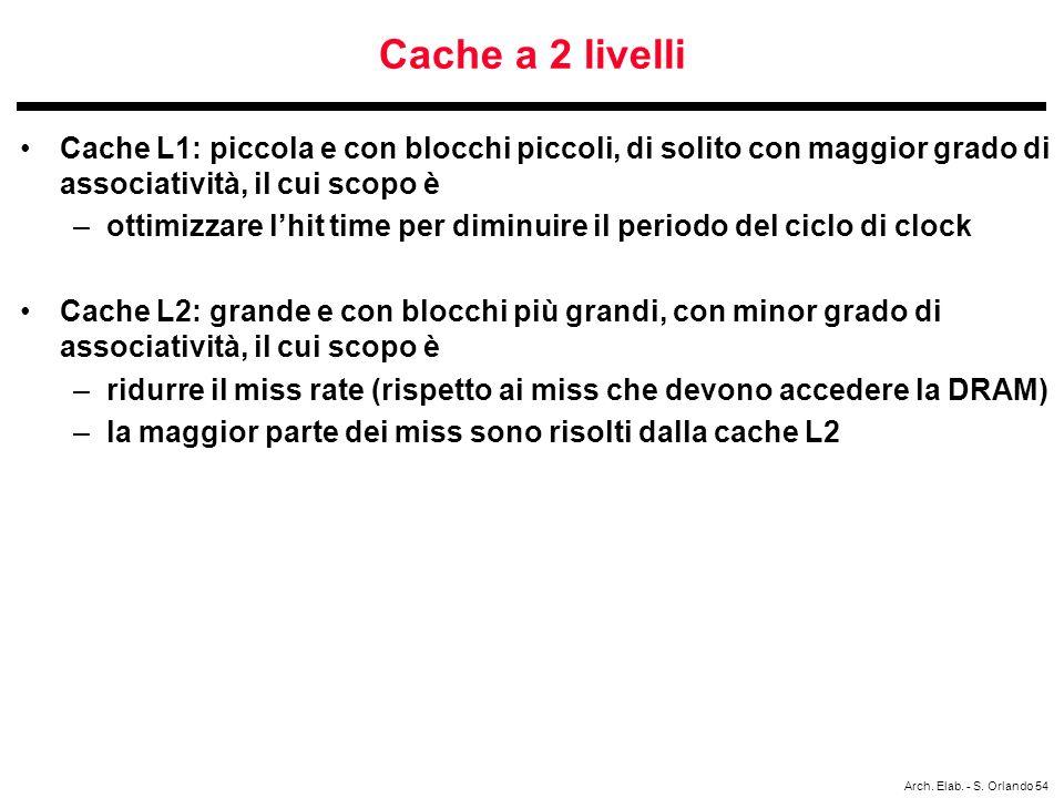 Cache a 2 livelli Cache L1: piccola e con blocchi piccoli, di solito con maggior grado di associatività, il cui scopo è.