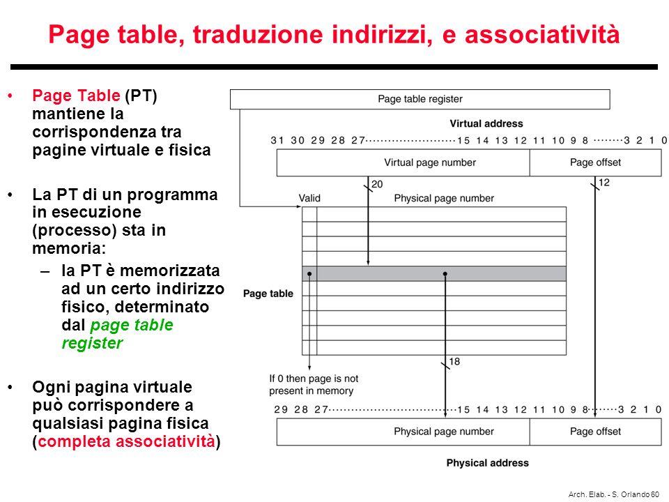 Page table, traduzione indirizzi, e associatività