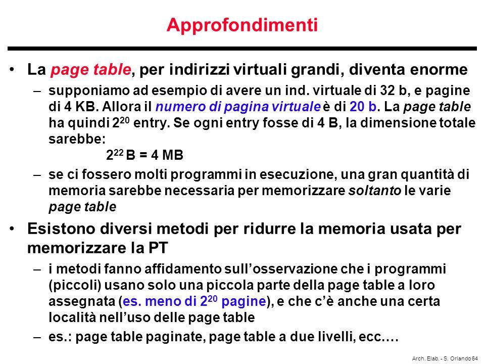 Approfondimenti La page table, per indirizzi virtuali grandi, diventa enorme.