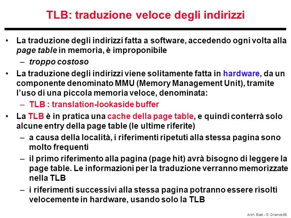 TLB: traduzione veloce degli indirizzi