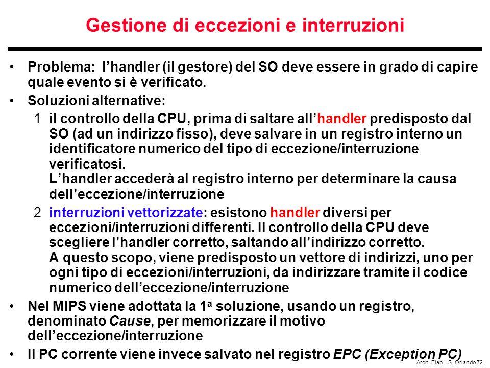 Gestione di eccezioni e interruzioni