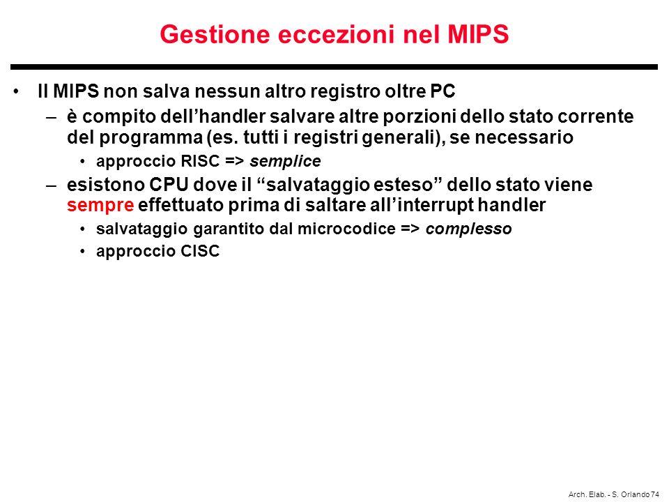 Gestione eccezioni nel MIPS