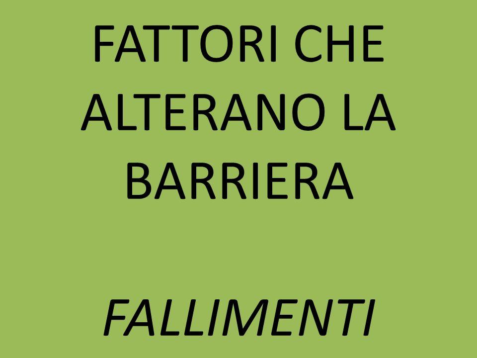 FATTORI CHE ALTERANO LA BARRIERA FALLIMENTI
