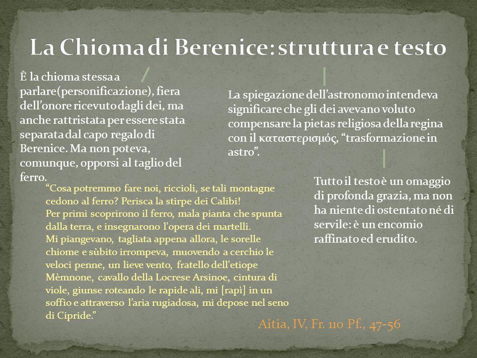 La Chioma di Berenice: struttura e testo