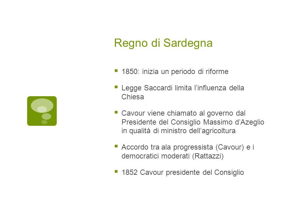 Regno di Sardegna 1850: inizia un periodo di riforme