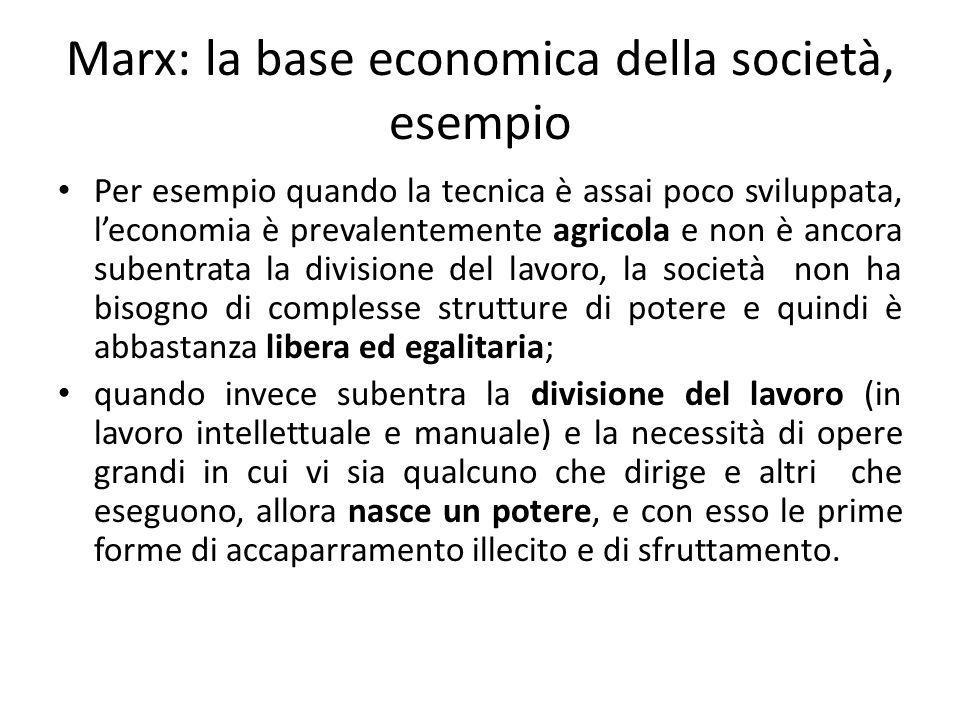 Marx: la base economica della società, esempio