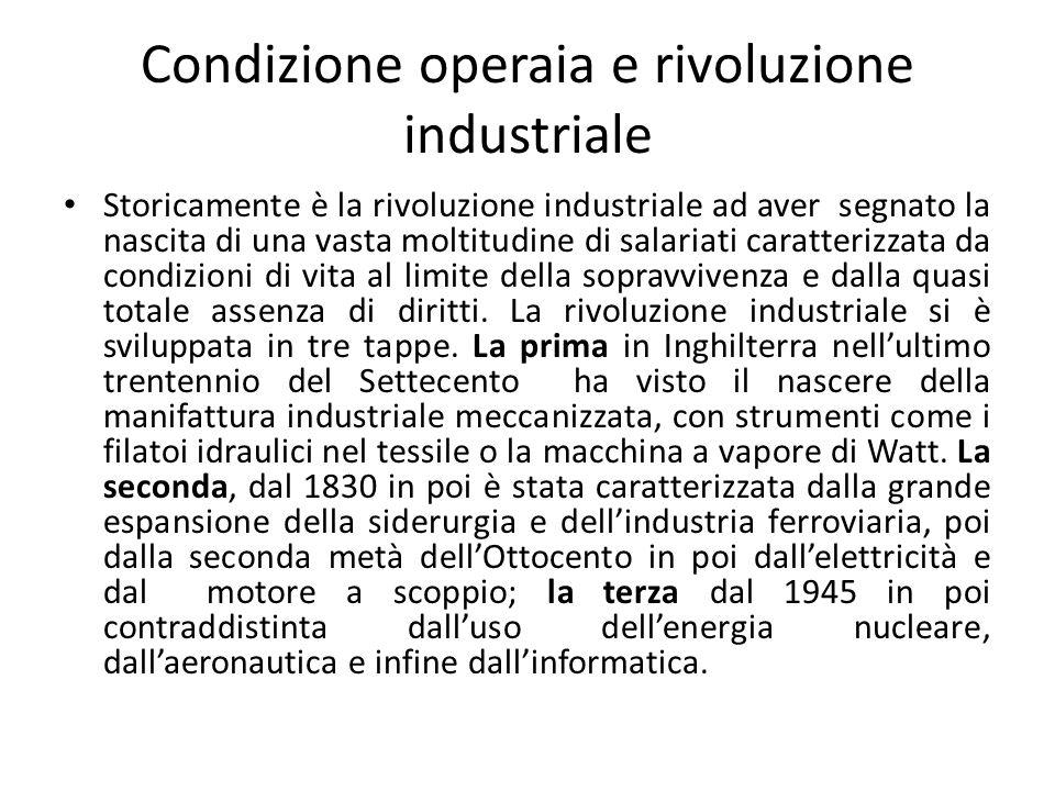 Condizione operaia e rivoluzione industriale
