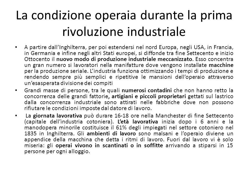 La condizione operaia durante la prima rivoluzione industriale