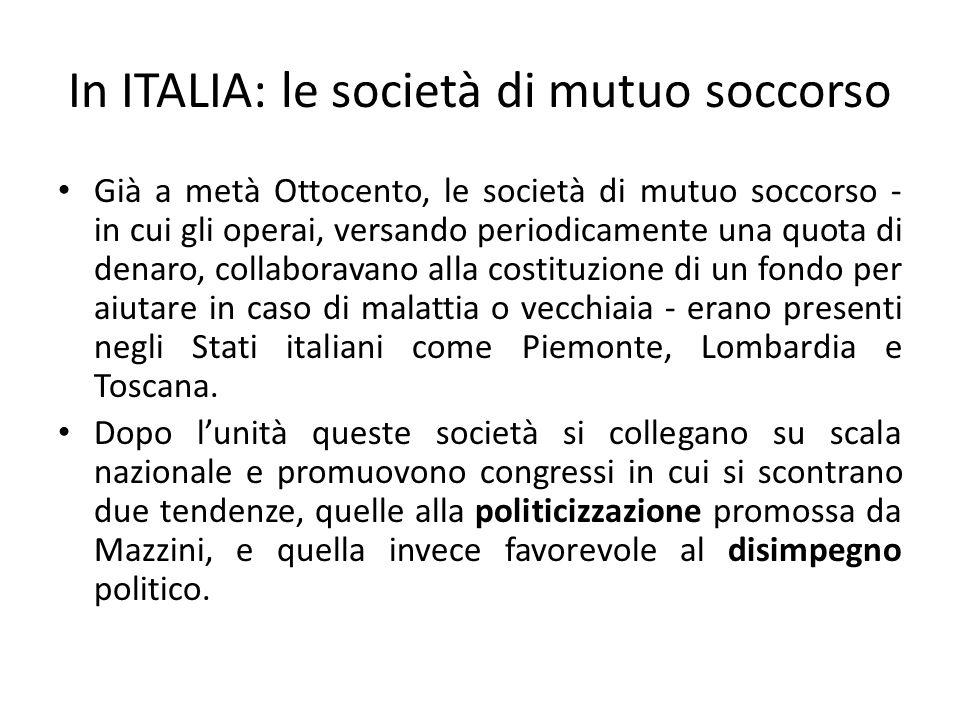 In ITALIA: le società di mutuo soccorso