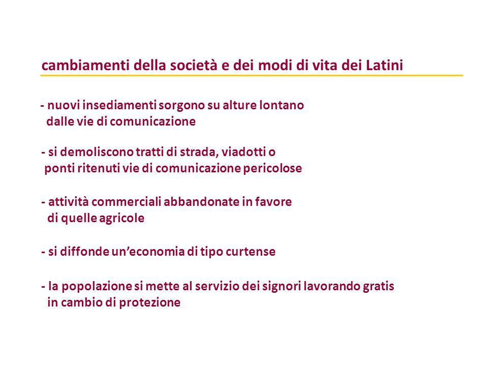 cambiamenti della società e dei modi di vita dei Latini