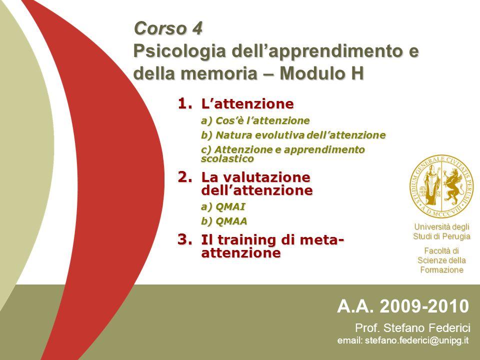 Corso 4 Psicologia dell'apprendimento e della memoria – Modulo H