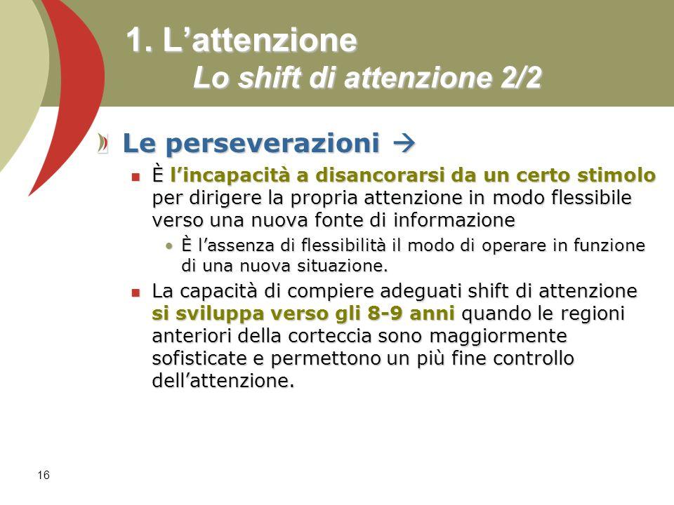 1. L'attenzione Lo shift di attenzione 2/2