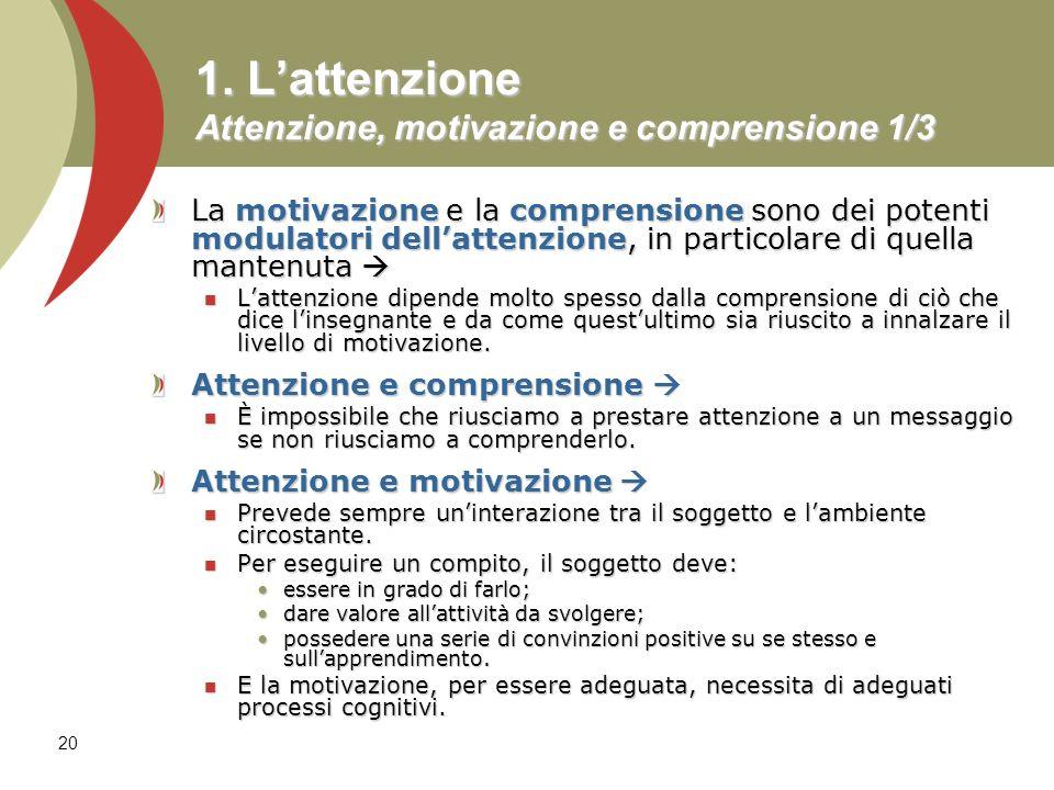 1. L'attenzione Attenzione, motivazione e comprensione 1/3