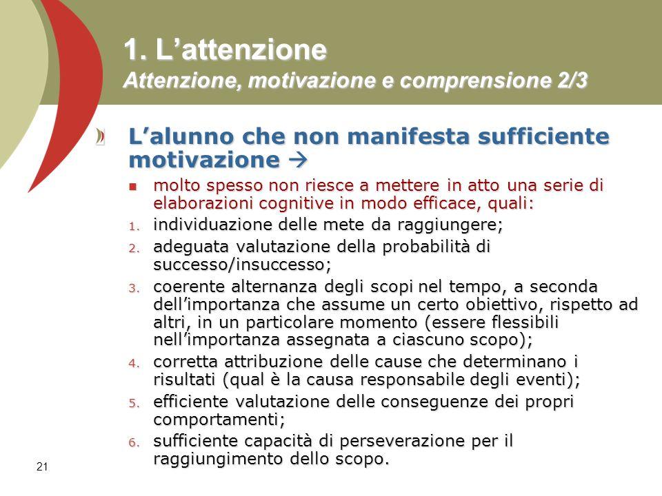 1. L'attenzione Attenzione, motivazione e comprensione 2/3