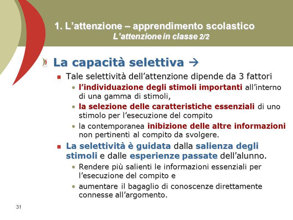 1. L'attenzione – apprendimento scolastico L'attenzione in classe 2/2