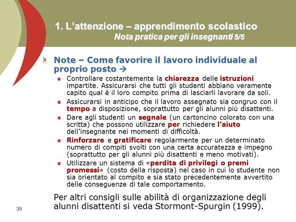 1. L'attenzione – apprendimento scolastico