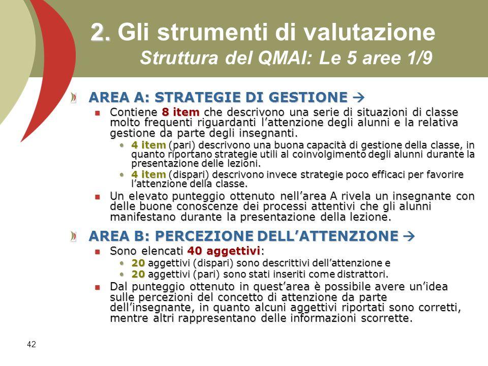 2. Gli strumenti di valutazione Struttura del QMAI: Le 5 aree 1/9