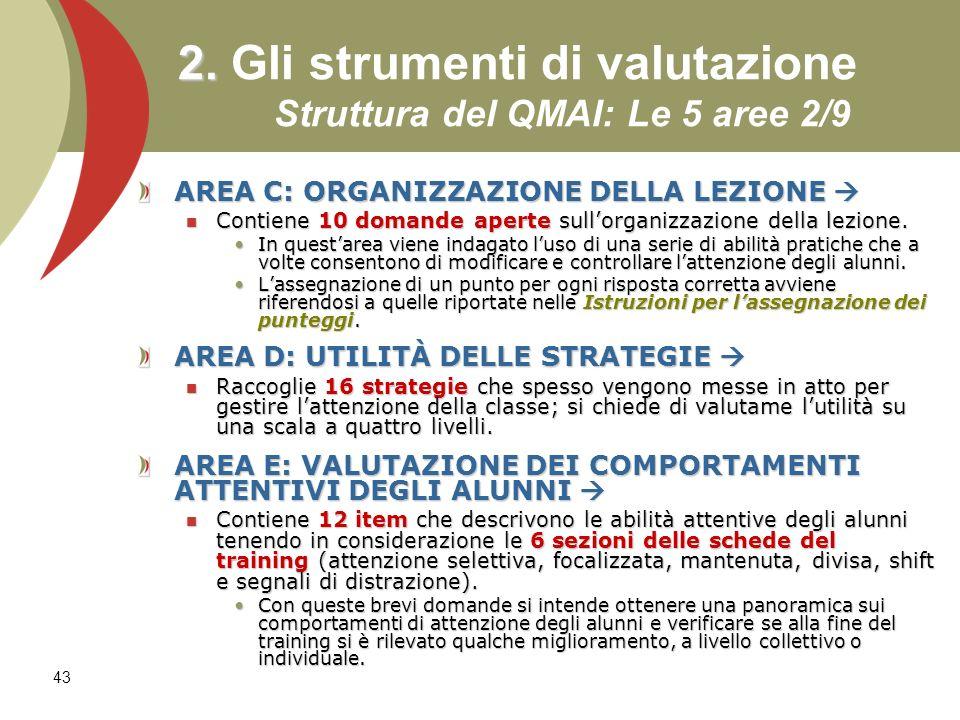 2. Gli strumenti di valutazione Struttura del QMAI: Le 5 aree 2/9
