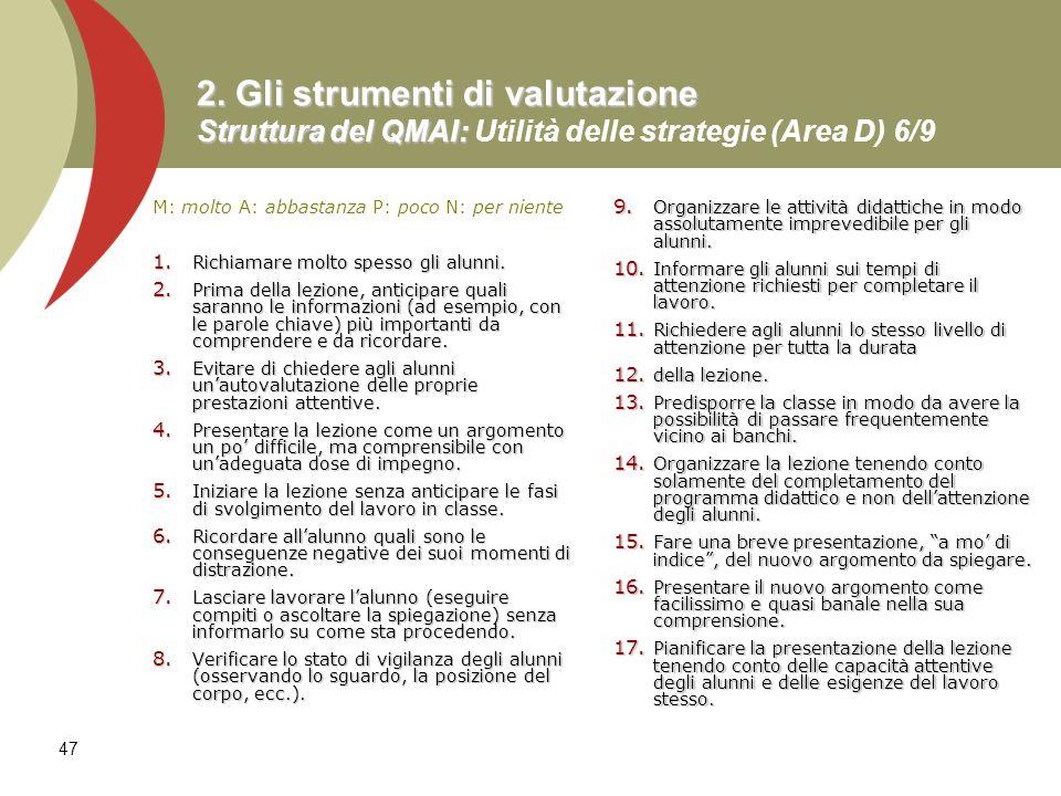 2. Gli strumenti di valutazione Struttura del QMAI: Utilità delle strategie (Area D) 6/9