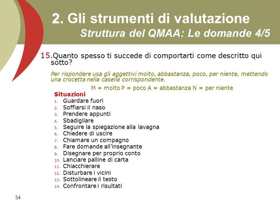 2. Gli strumenti di valutazione Struttura del QMAA: Le domande 4/5