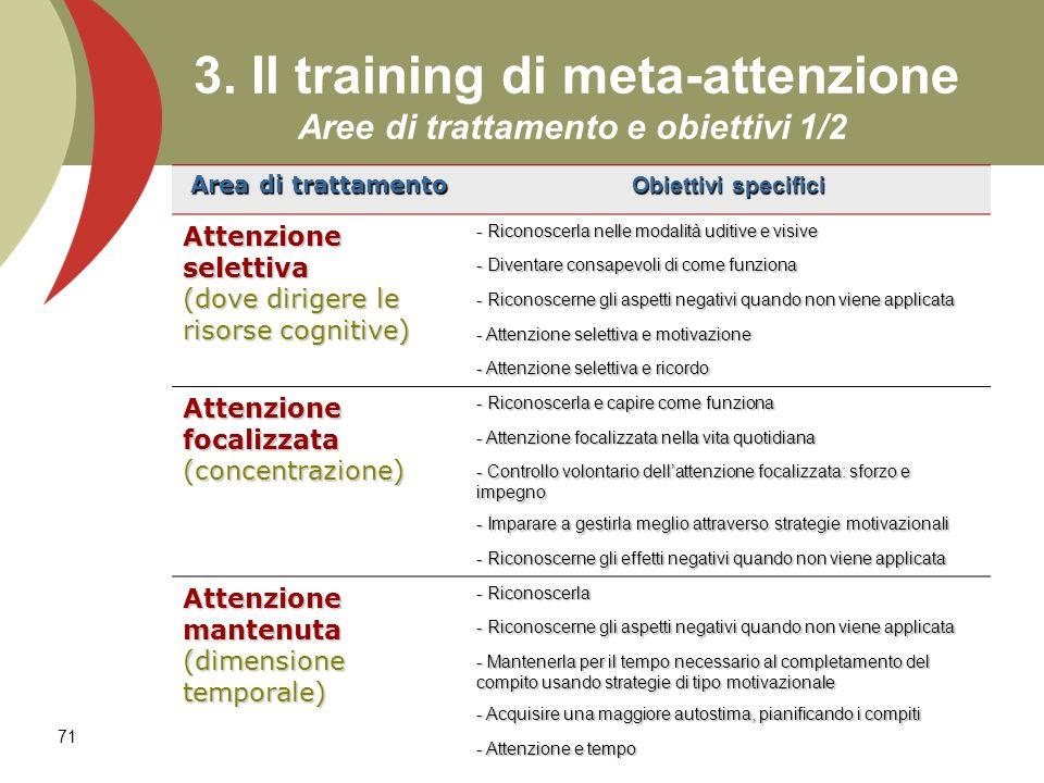 3. Il training di meta-attenzione Aree di trattamento e obiettivi 1/2