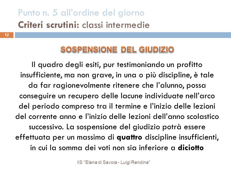 Punto n. 5 all'ordine del giorno Criteri scrutini: classi intermedie