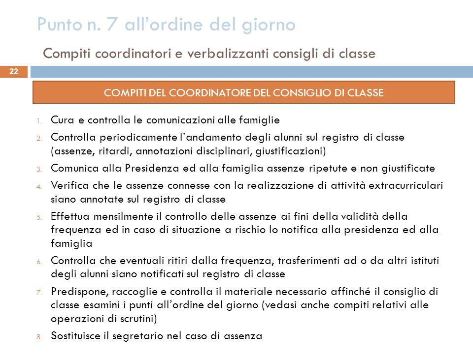COMPITI DEL COORDINATORE DEL CONSIGLIO DI CLASSE
