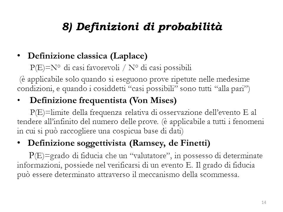 8) Definizioni di probabilità