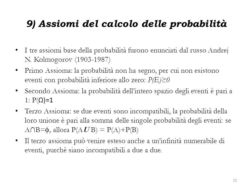9) Assiomi del calcolo delle probabilità