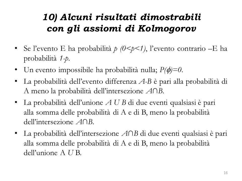 10) Alcuni risultati dimostrabili con gli assiomi di Kolmogorov