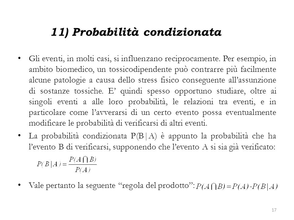 11) Probabilità condizionata