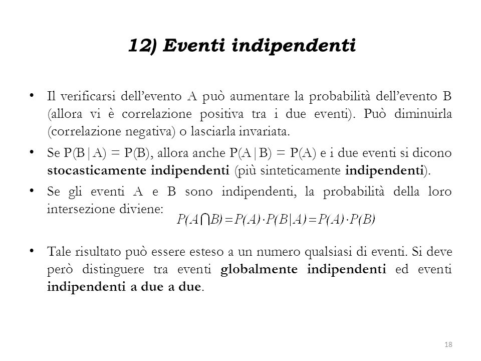 12) Eventi indipendenti