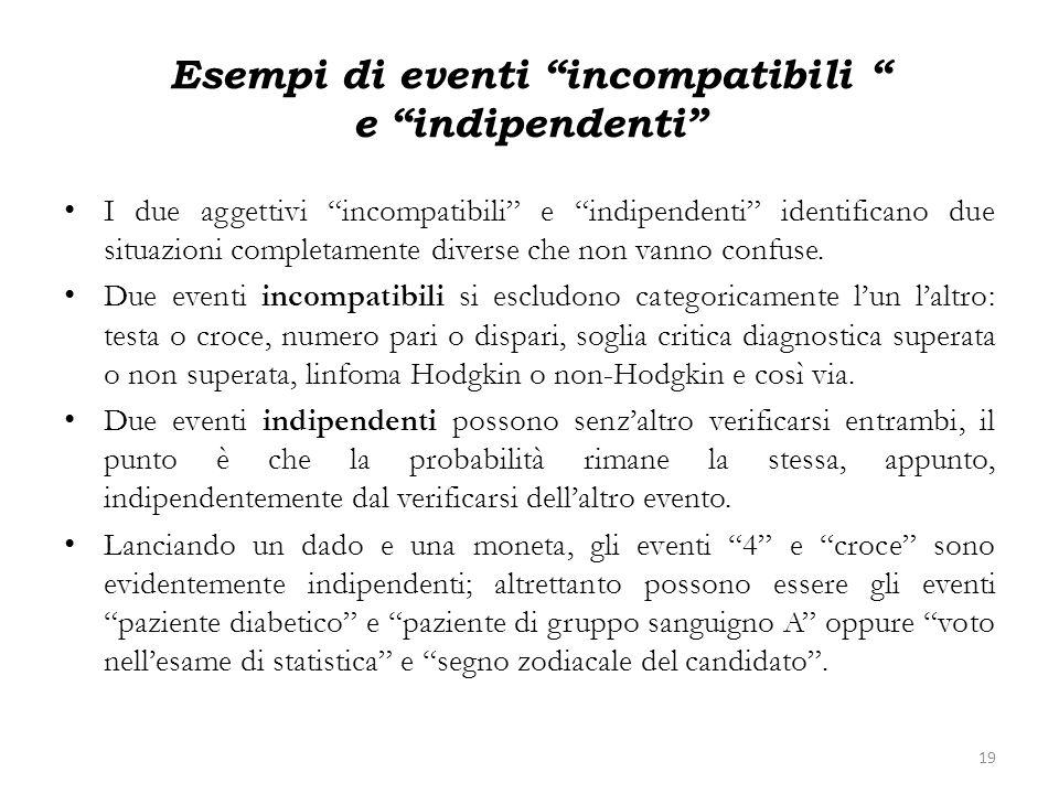Esempi di eventi incompatibili e indipendenti