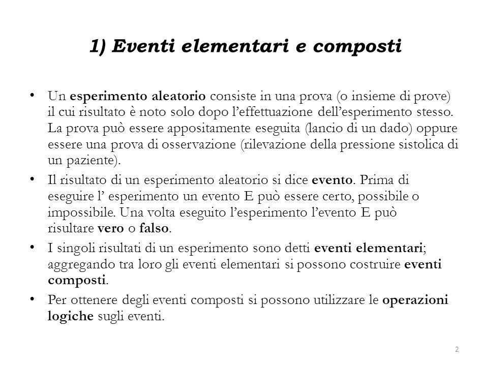 1) Eventi elementari e composti