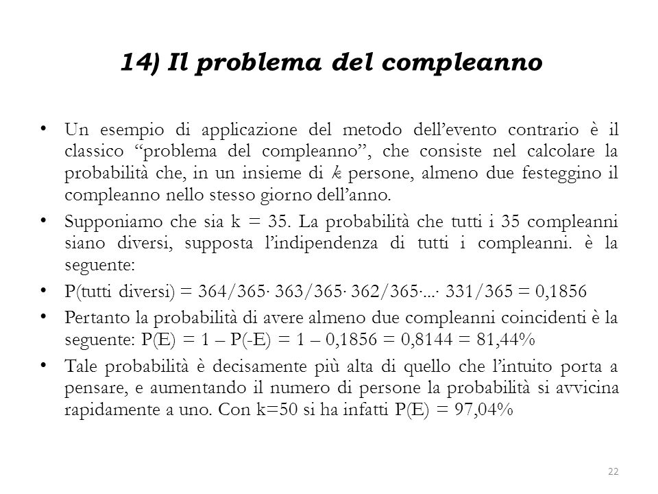 14) Il problema del compleanno