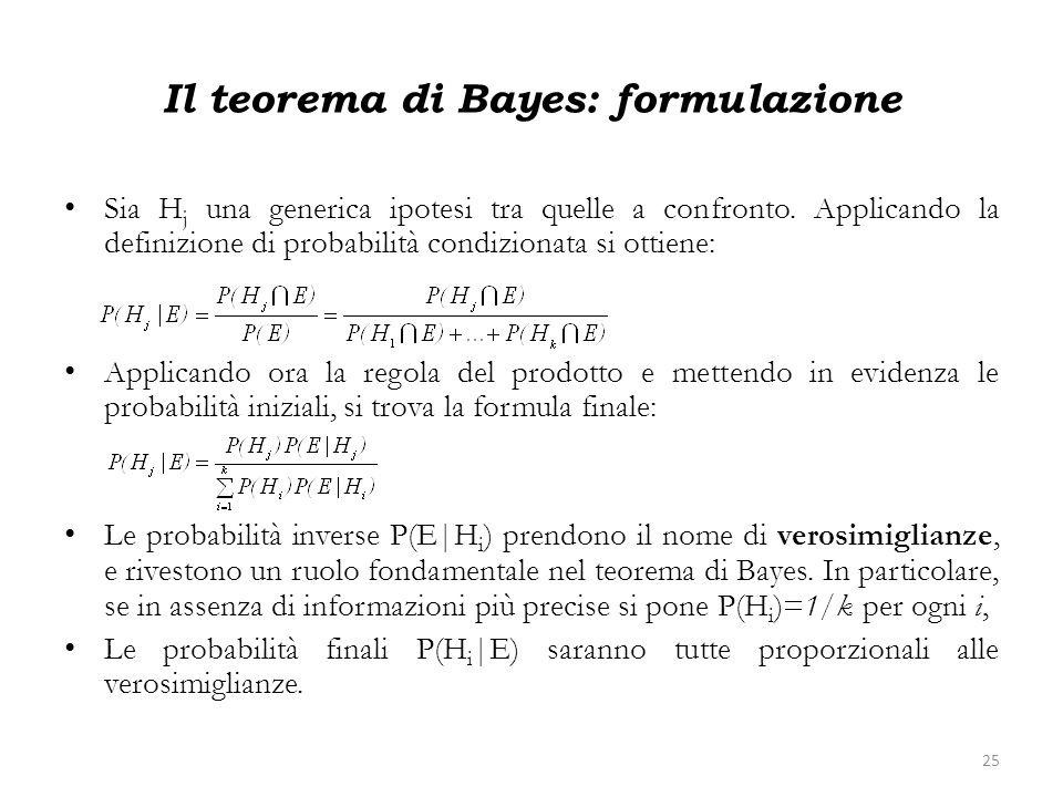 Il teorema di Bayes: formulazione