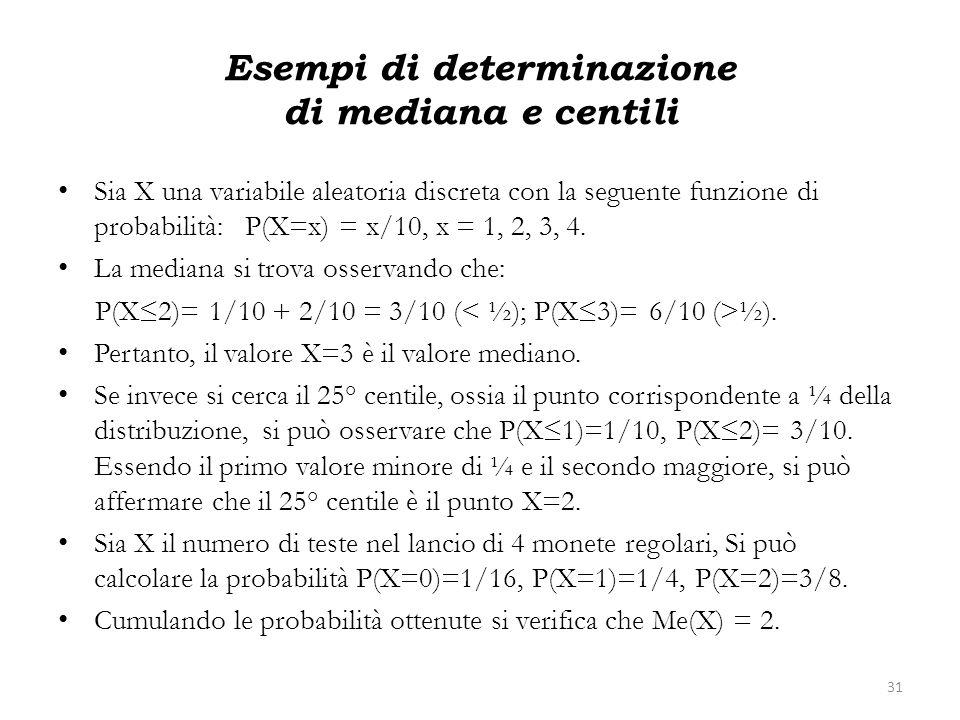 Esempi di determinazione di mediana e centili