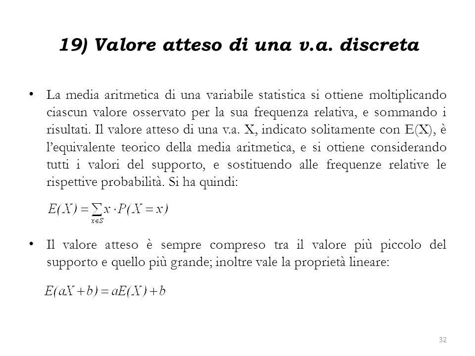 19) Valore atteso di una v.a. discreta