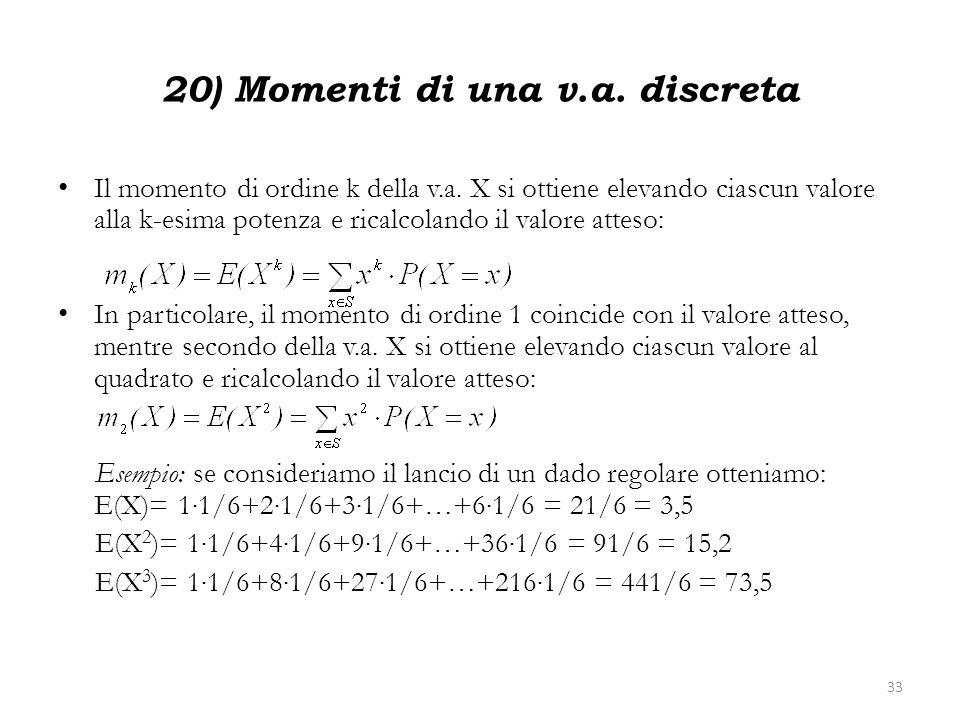 20) Momenti di una v.a. discreta