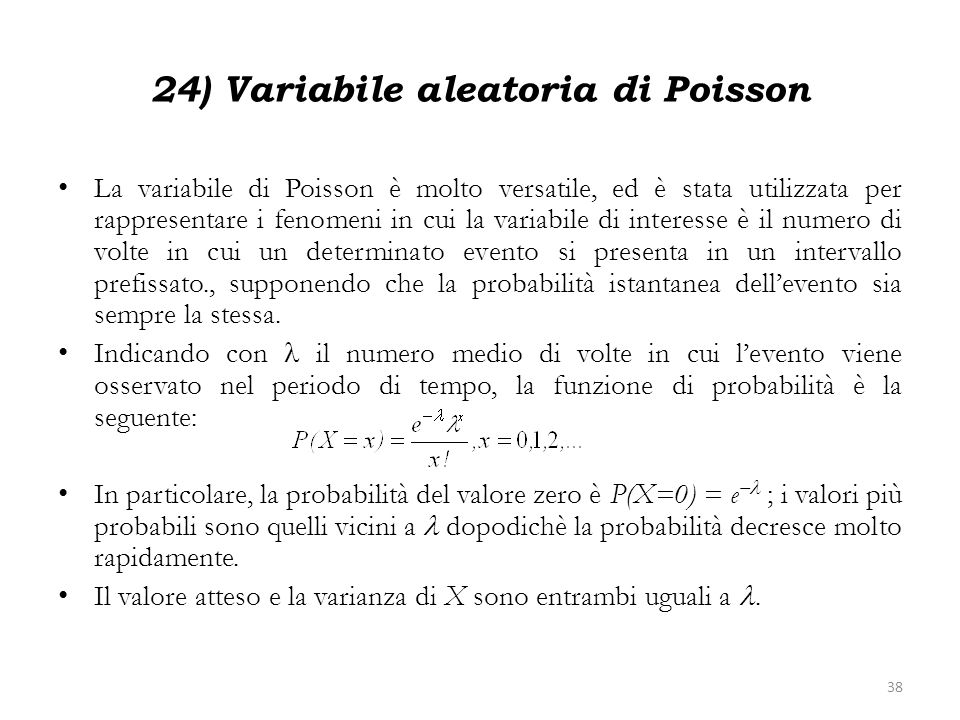 24) Variabile aleatoria di Poisson