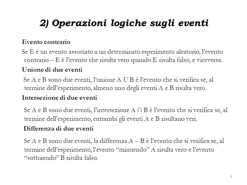 2) Operazioni logiche sugli eventi