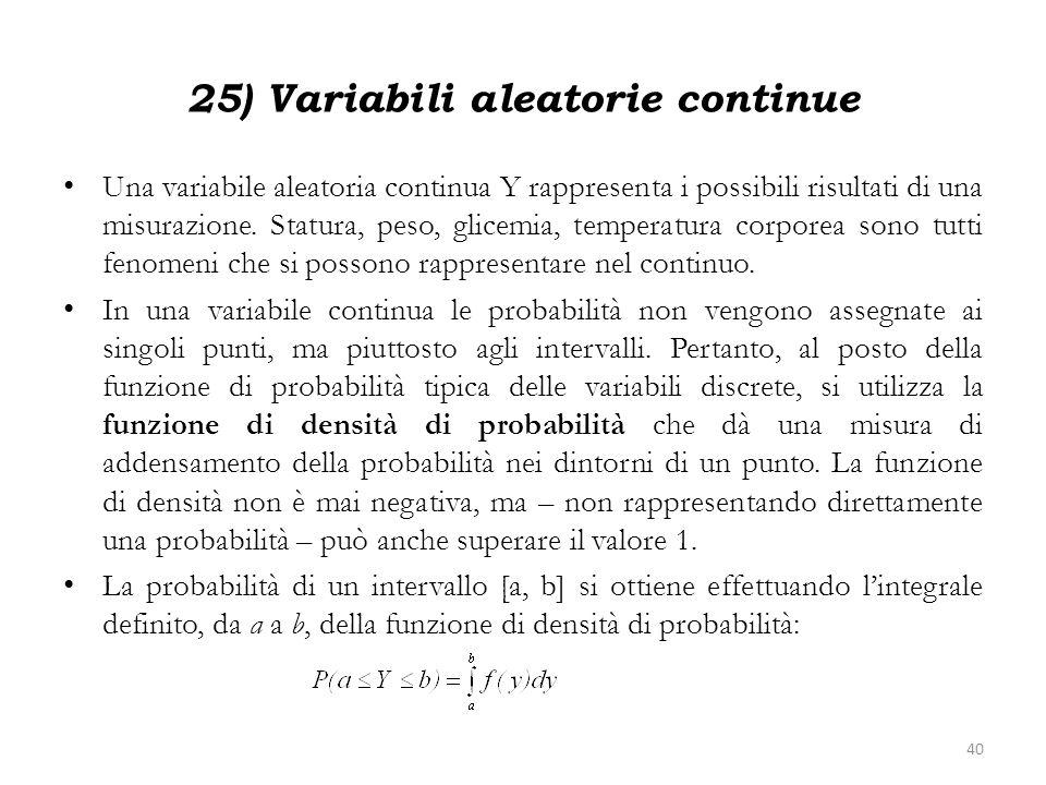 25) Variabili aleatorie continue