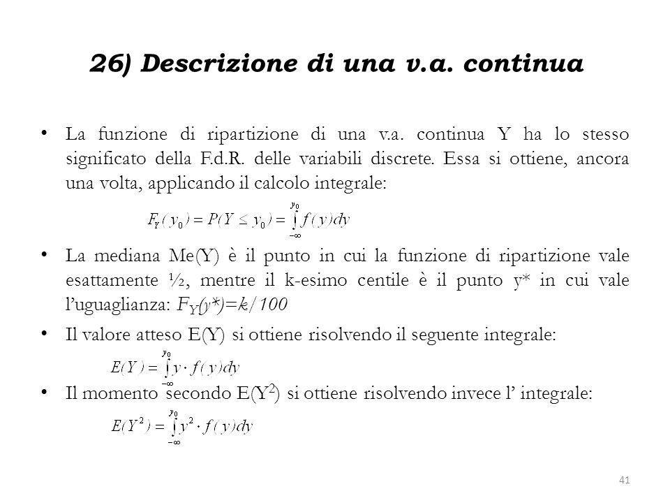 26) Descrizione di una v.a. continua