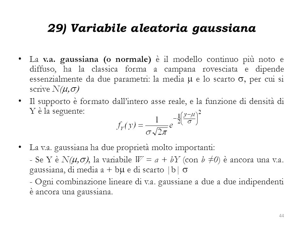 29) Variabile aleatoria gaussiana