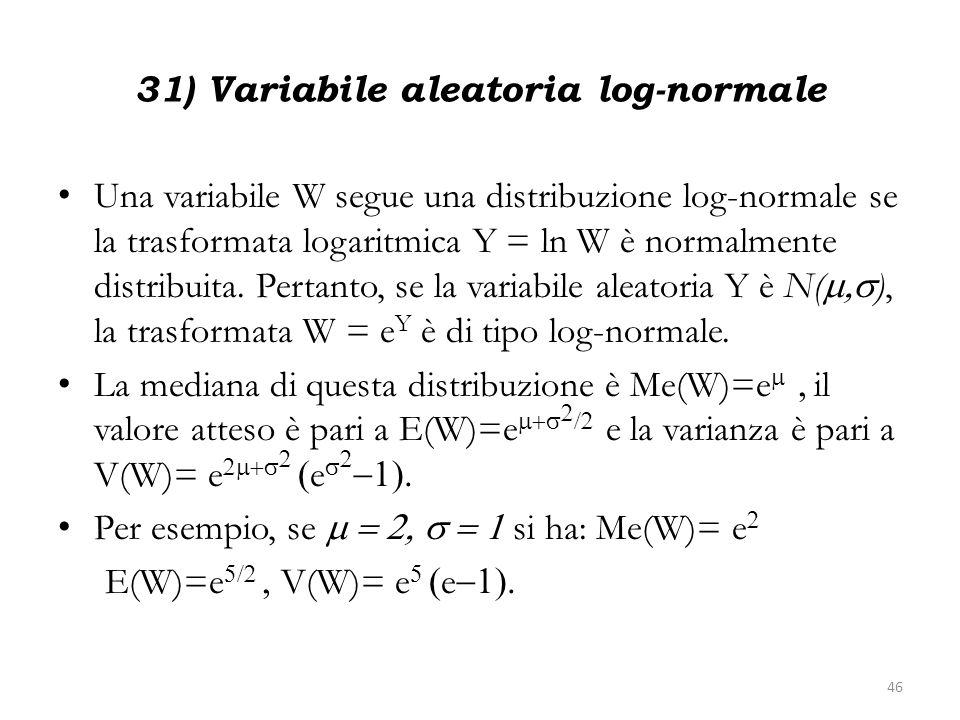 31) Variabile aleatoria log-normale