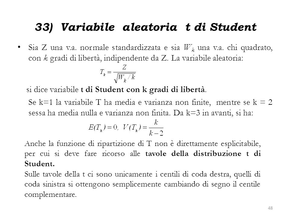 33) Variabile aleatoria t di Student