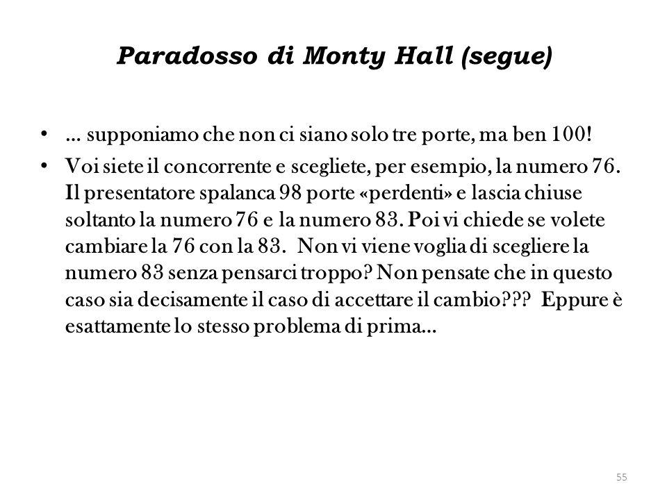 Paradosso di Monty Hall (segue)