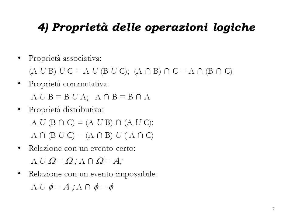 4) Proprietà delle operazioni logiche