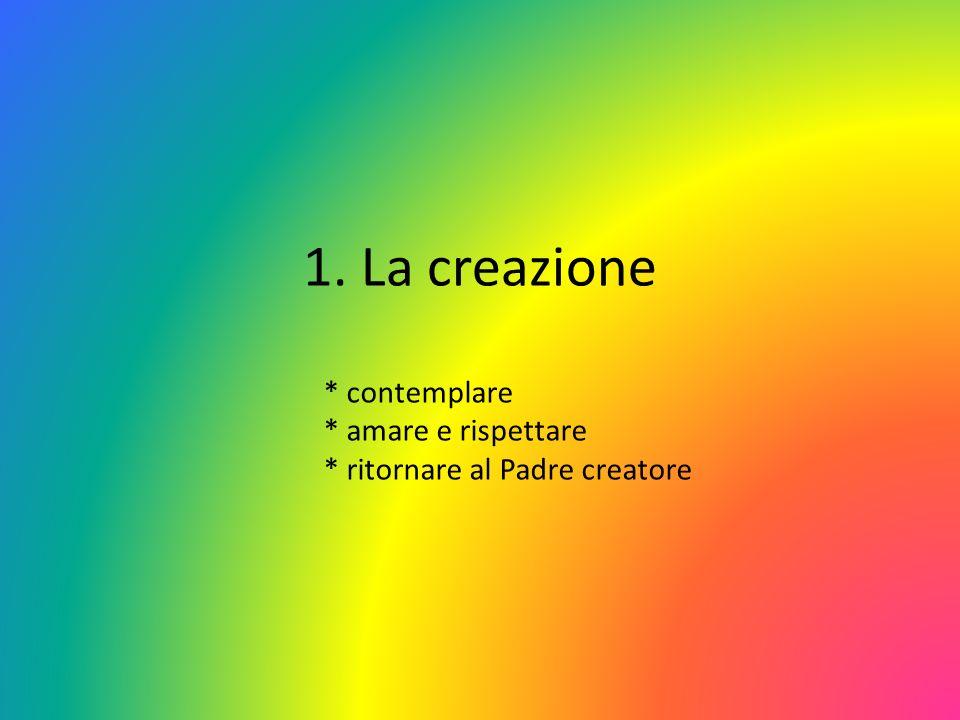 1. La creazione * contemplare * amare e rispettare