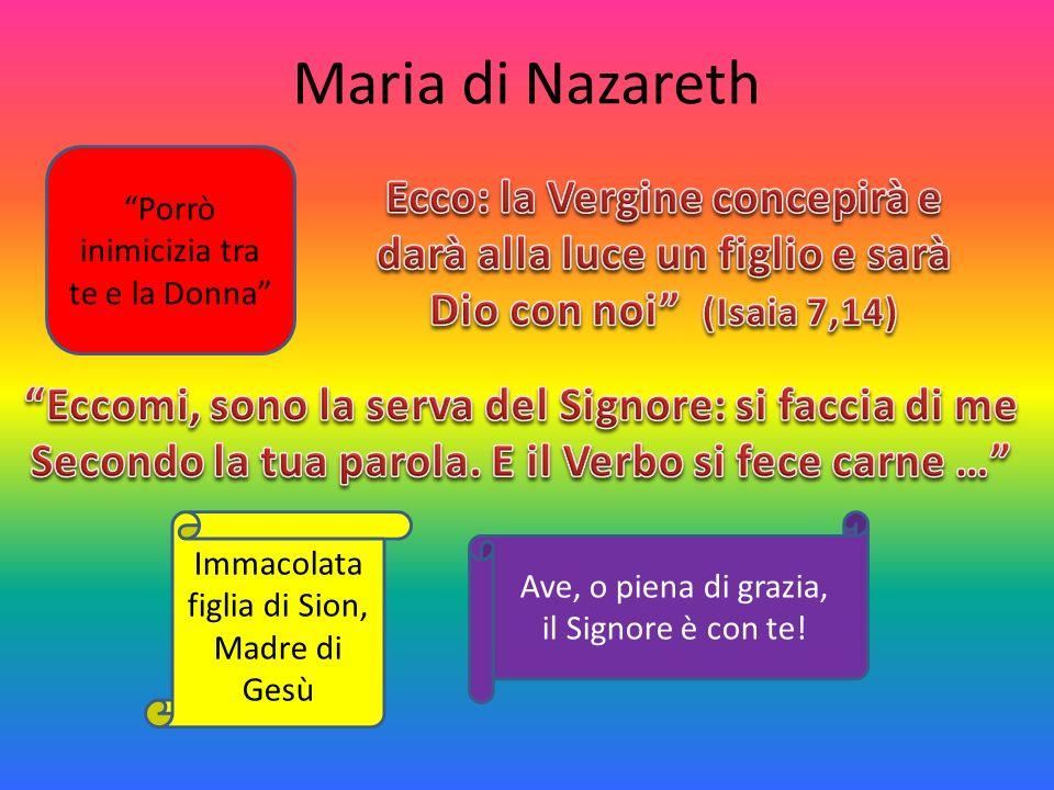Maria di Nazareth Porrò inimicizia tra te e la Donna Ecco: la Vergine concepirà e darà alla luce un figlio e sarà Dio con noi (Isaia 7,14)